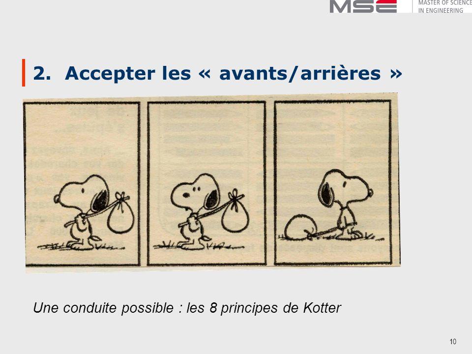 10 2. Accepter les « avants/arrières » Une conduite possible : les 8 principes de Kotter