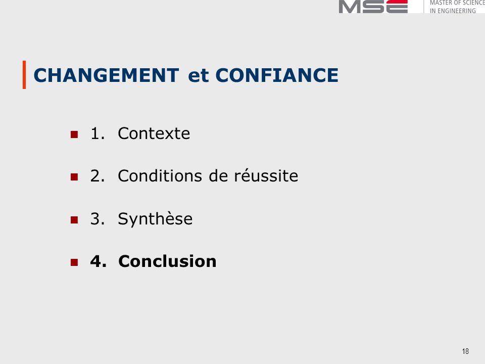 18 CHANGEMENT et CONFIANCE 1. Contexte 2. Conditions de réussite 3. Synthèse 4. Conclusion