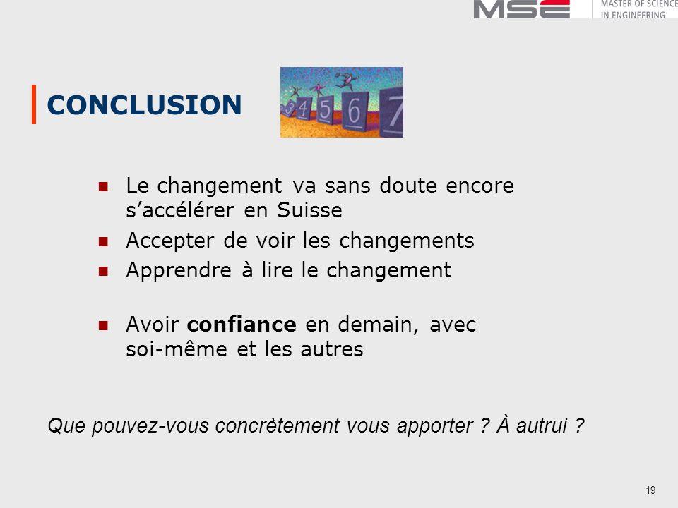 19 CONCLUSION Le changement va sans doute encore saccélérer en Suisse Accepter de voir les changements Apprendre à lire le changement Avoir confiance