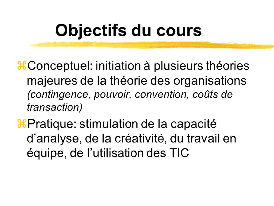 Objectifs du cours zConceptuel: initiation à plusieurs théories majeures de la théorie des organisations (contingence, pouvoir, convention, coûts de t