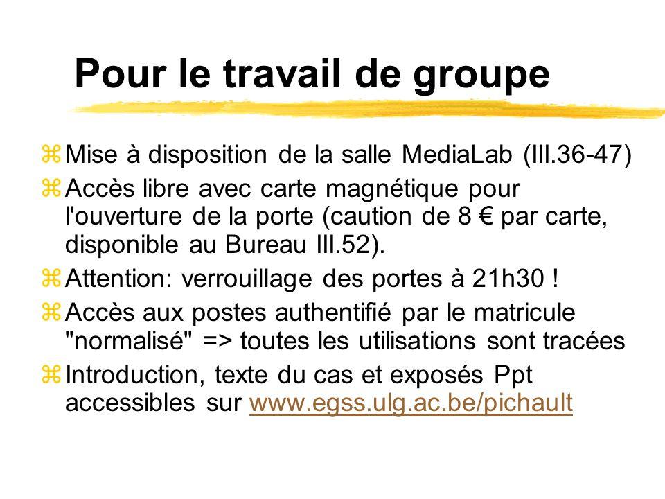 Pour le travail de groupe zMise à disposition de la salle MediaLab (III.36-47) zAccès libre avec carte magnétique pour l'ouverture de la porte (cautio