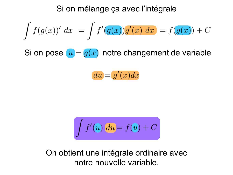 On obtient une intégrale ordinaire avec notre nouvelle variable. Si on mélange ça avec lintégrale Si on posenotre changement de variable