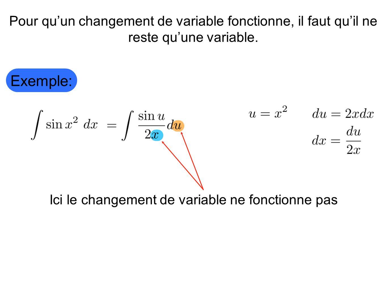 Ici le changement de variable ne fonctionne pas Exemple: Pour quun changement de variable fonctionne, il faut quil ne reste quune variable.