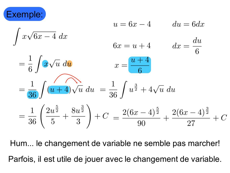 Hum... le changement de variable ne semble pas marcher! Exemple: Parfois, il est utile de jouer avec le changement de variable.