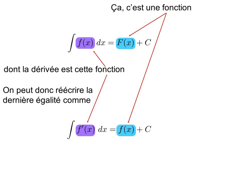 dont la dérivée est cette fonction Ça, cest une fonction On peut donc réécrire la dernière égalité comme
