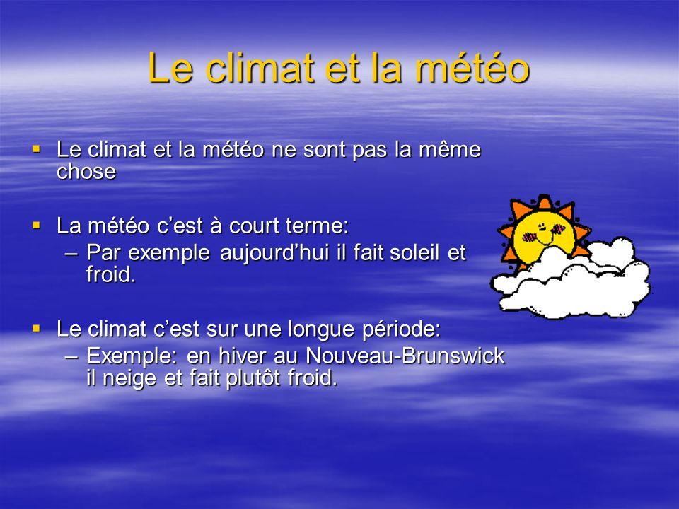 Le climat et la météo Le climat et la météo ne sont pas la même chose Le climat et la météo ne sont pas la même chose La météo cest à court terme: La météo cest à court terme: –Par exemple aujourdhui il fait soleil et froid.