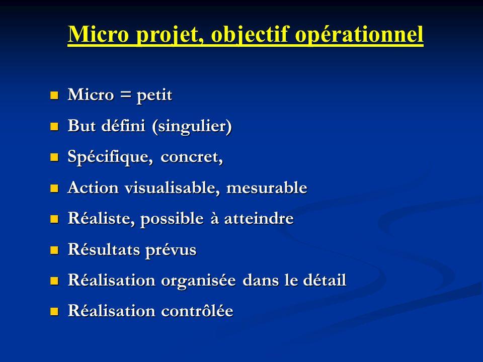 Micro = petit Micro = petit But défini (singulier) But défini (singulier) Spécifique, concret, Spécifique, concret, Action visualisable, mesurable Act
