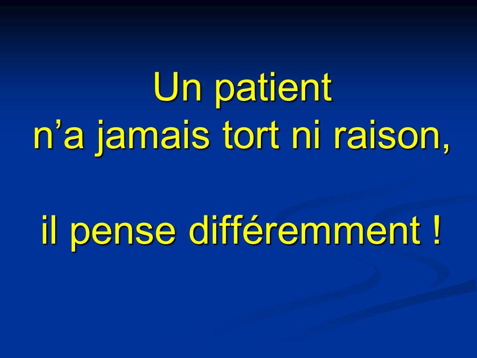 Un patient na jamais tort ni raison, il pense différemment !