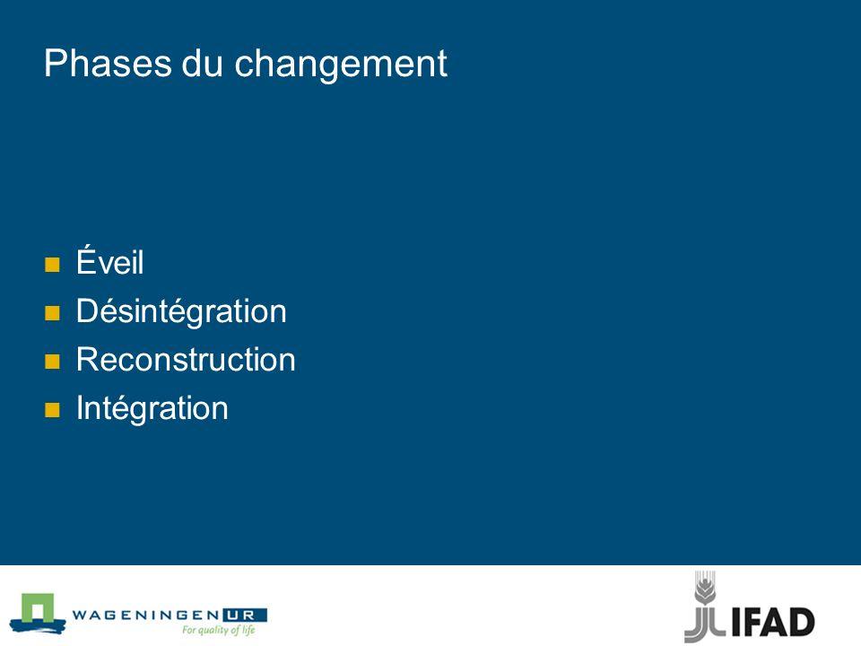 Phases du changement Éveil Désintégration Reconstruction Intégration