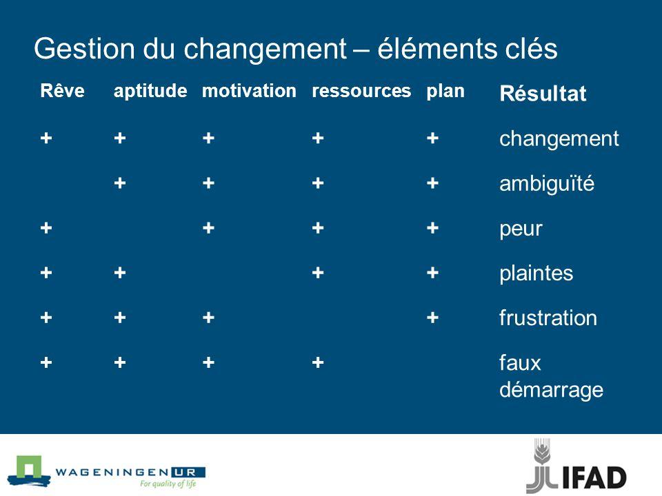 Gestion du changement – éléments clés Rêveaptitudemotivationressourcesplan Résultat +++++changement ++++ambiguïté ++++peur ++++plaintes ++++frustration ++++faux démarrage