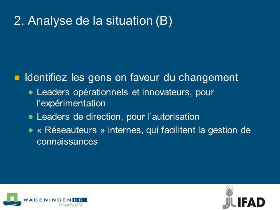 2. Analyse de la situation (B) Identifiez les gens en faveur du changement Leaders opérationnels et innovateurs, pour lexpérimentation Leaders de dire
