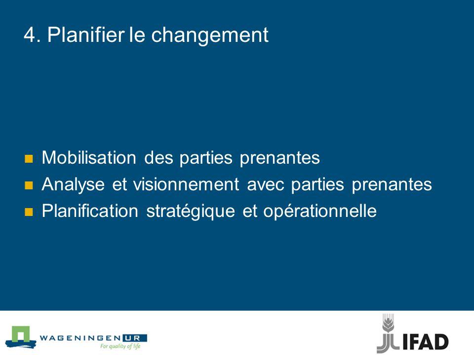 4. Planifier le changement Mobilisation des parties prenantes Analyse et visionnement avec parties prenantes Planification stratégique et opérationnel