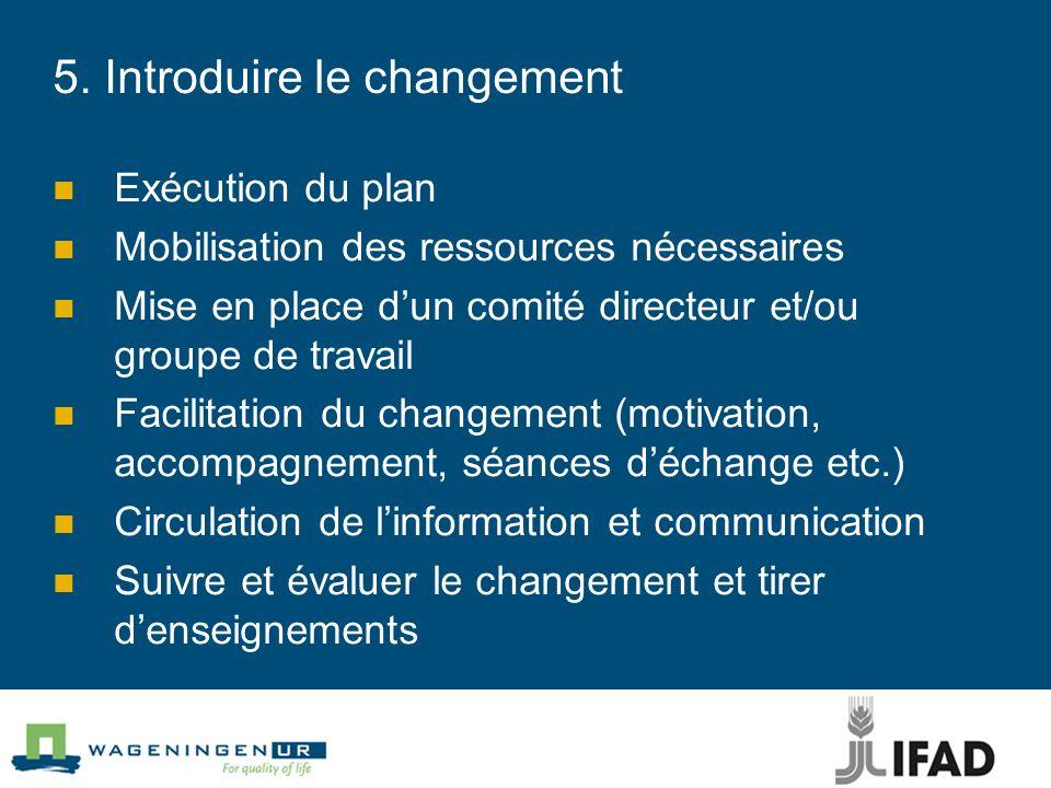 5. Introduire le changement Exécution du plan Mobilisation des ressources nécessaires Mise en place dun comité directeur et/ou groupe de travail Facil