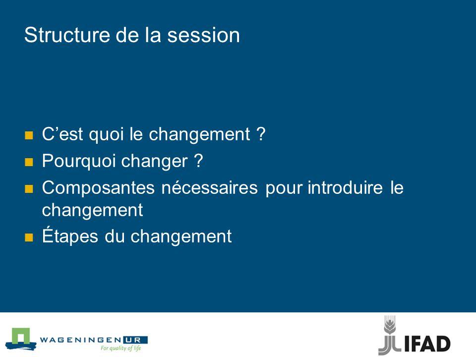 Structure de la session Cest quoi le changement .Pourquoi changer .