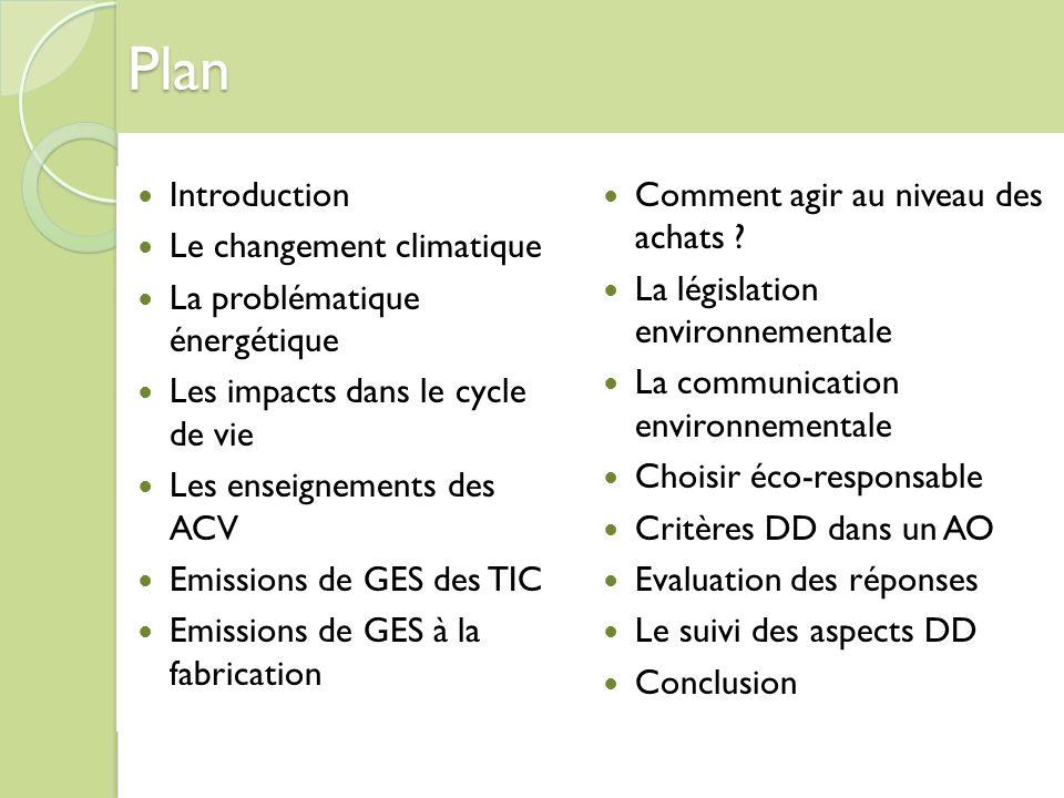 Plan Introduction Le changement climatique La problématique énergétique Les impacts dans le cycle de vie Les enseignements des ACV Emissions de GES de