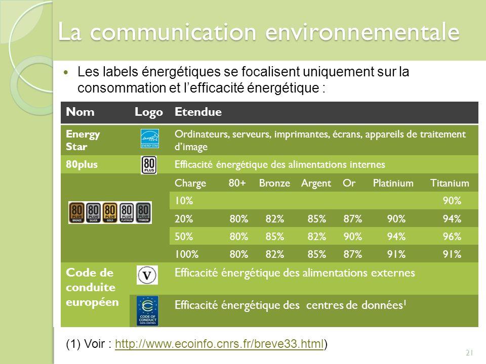 21 La communication environnementale Les labels énergétiques se focalisent uniquement sur la consommation et lefficacité énergétique : NomLogoEtendue