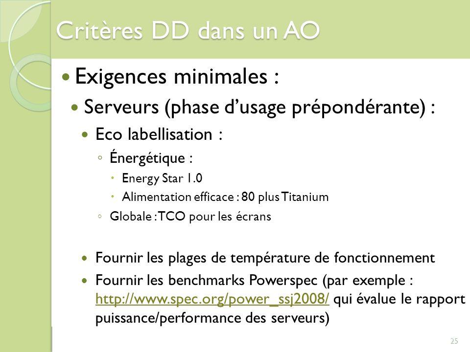 25 Critères DD dans un AO Exigences minimales : Serveurs (phase dusage prépondérante) : Eco labellisation : Énergétique : Energy Star 1.0 Alimentation