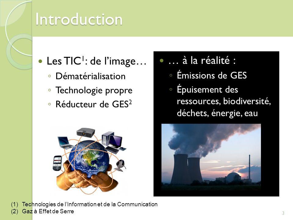 Introduction Les TIC 1 : de limage… Dématérialisation Technologie propre Réducteur de GES 2 … à la réalité : Émissions de GES Épuisement des ressource