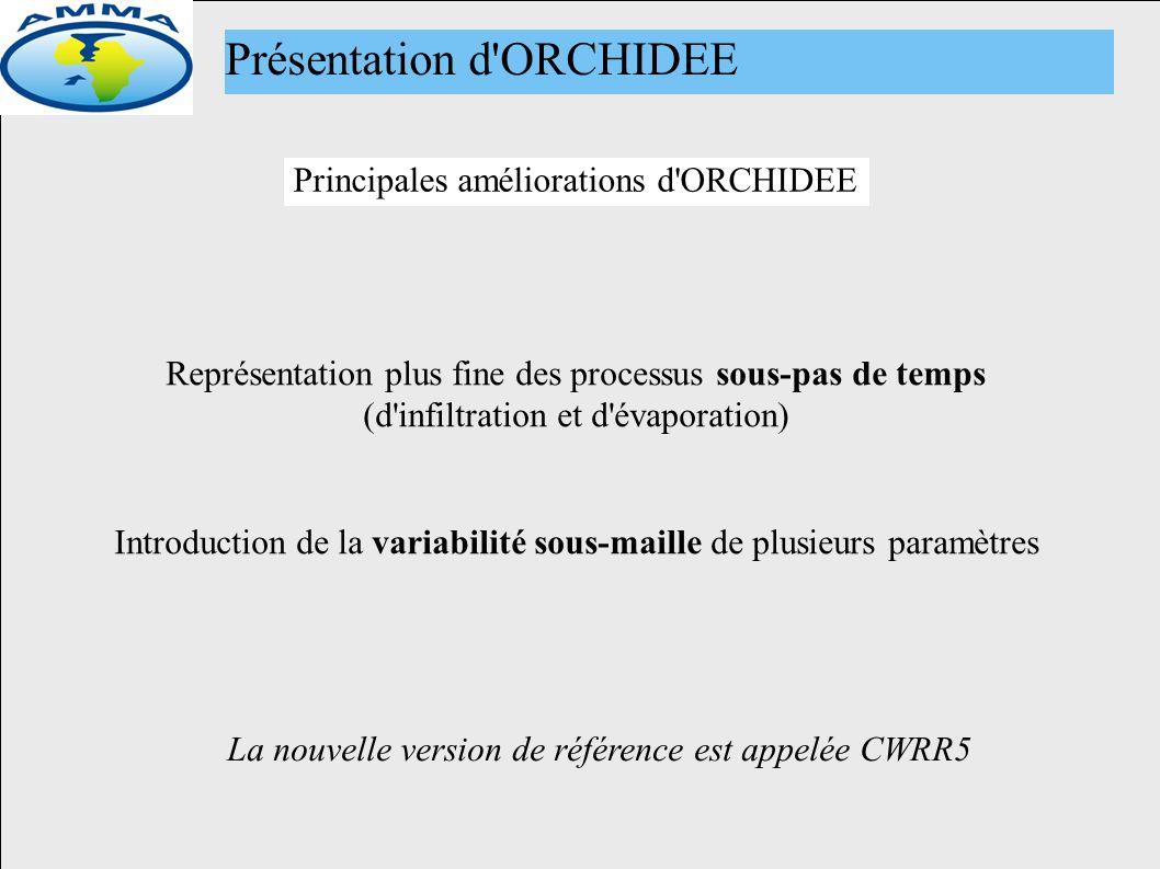 Principales améliorations d ORCHIDEE Présentation d ORCHIDEE Représentation plus fine des processus sous-pas de temps (d infiltration et d évaporation) Introduction de la variabilité sous-maille de plusieurs paramètres La nouvelle version de référence est appelée CWRR5