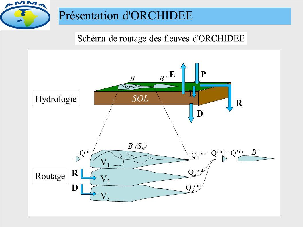 Ancien module de routage SOL P R I BB D B (S B ) B R D Q in Q 1 out Q 2 out Q 3 out Q out = Q in E Routage Hydrologie V1V1 V2V2 V3V3 Schéma de routage des fleuves d ORCHIDEE Présentation d ORCHIDEE