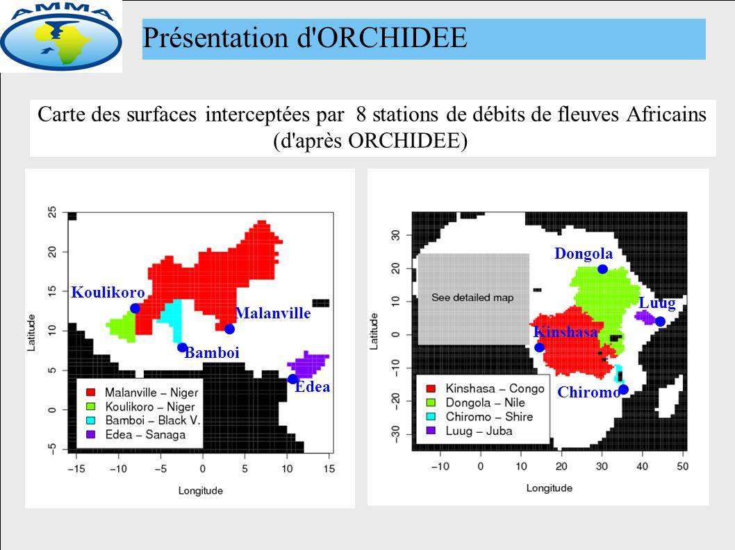 Carte des surfaces interceptées par 8 stations de débits de fleuves Africains (d après ORCHIDEE) Présentation d ORCHIDEE Malanville Bamboi Koulikoro Edea Kinshasa Dongola Chiromo Luug