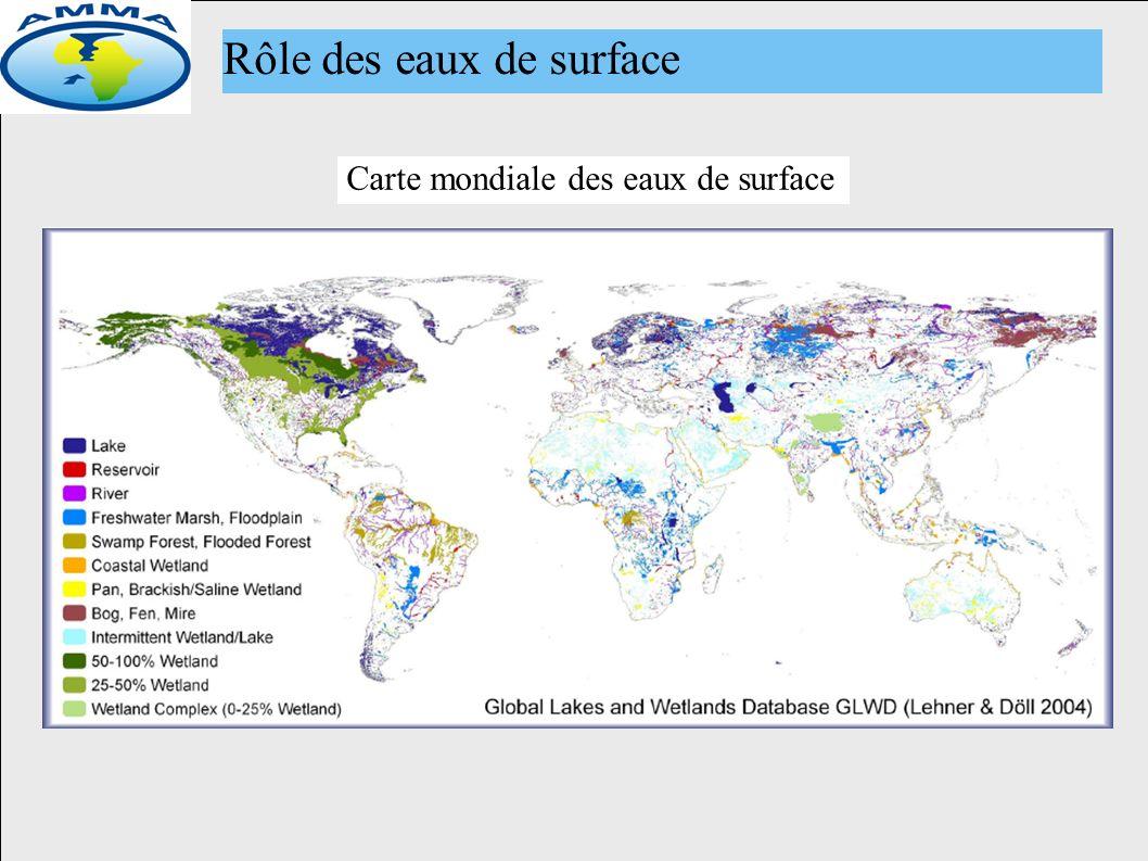 Carte mondiale des eaux de surface Rôle des eaux de surface