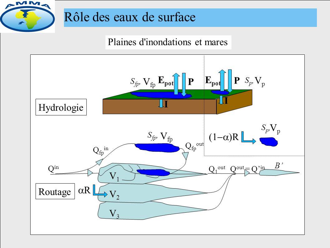 Nouveau module de routage (fp et mares) P B Q in Q 1 out Q out = Q in Routage Hydrologie V1V1 Q fp in S fp, V fp Q fp out E pot V2V2 V3V3 S fp, V fp Plaines d inondations et mares R R VpVp Sp,Sp, VpVp Sp,Sp, P E pot I Rôle des eaux de surface I
