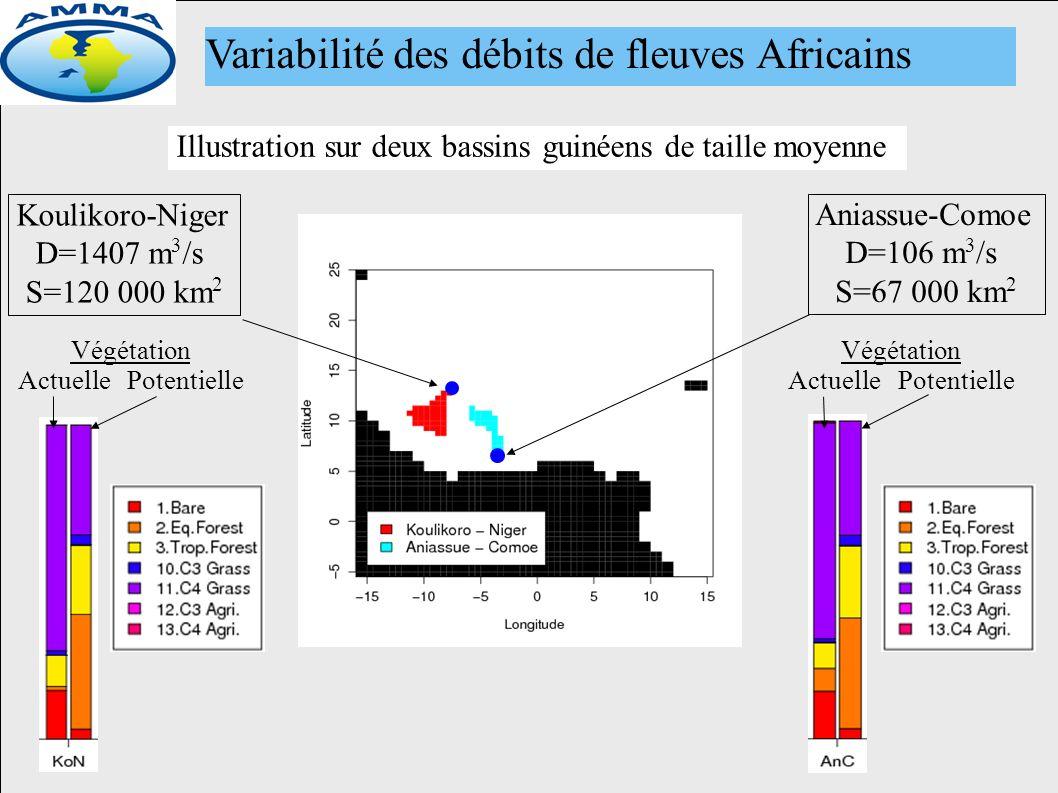 Variabilité des débits de fleuves Africains Koulikoro-Niger D=1407 m 3 /s S=120 000 km 2 Aniassue-Comoe D=106 m 3 /s S=67 000 km 2 Illustration sur deux bassins guinéens de taille moyenne ActuellePotentielle Végétation ActuellePotentielle Végétation
