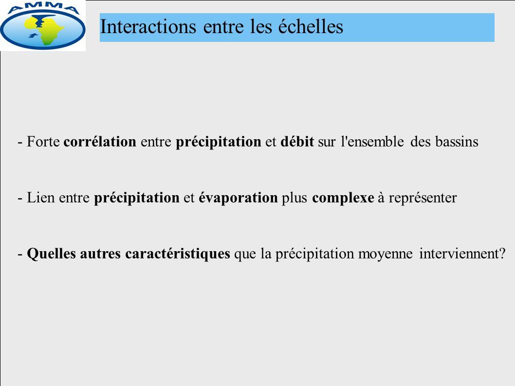 Interactions entre les échelles - Forte corrélation entre précipitation et débit sur l ensemble des bassins - Lien entre précipitation et évaporation plus complexe à représenter - Quelles autres caractéristiques que la précipitation moyenne interviennent?