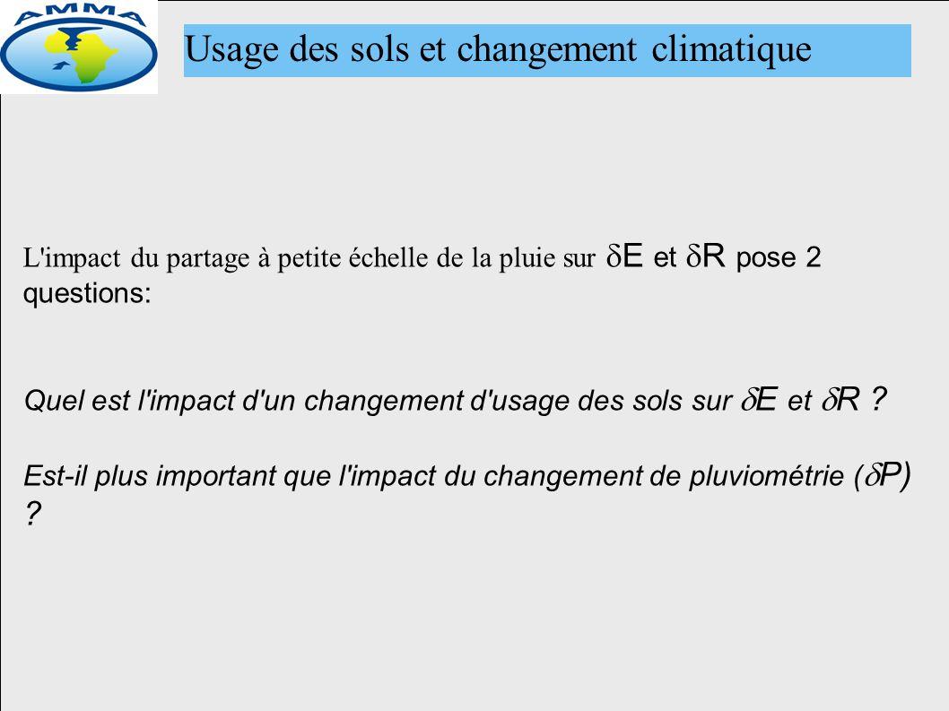 Usage des sols et changement climatique L impact du partage à petite échelle de la pluie sur E et R pose 2 questions: Quel est l impact d un changement d usage des sols sur E et R .