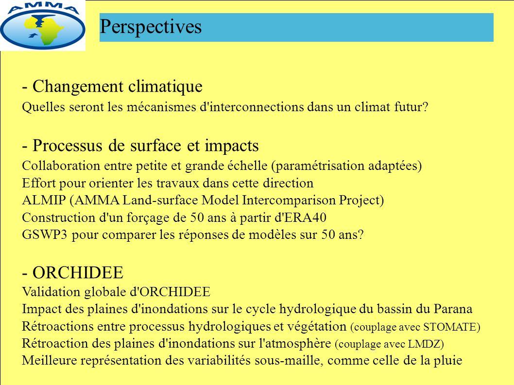 Perspectives - Changement climatique Quelles seront les mécanismes d interconnections dans un climat futur.
