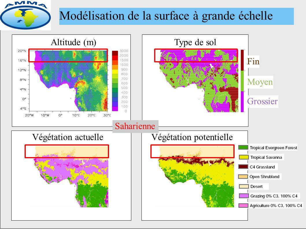 Altitude (m)Type de sol Fin Moyen Grossier Végétation potentielleVégétation actuelle Modélisation de la surface à grande échelle Saharienne