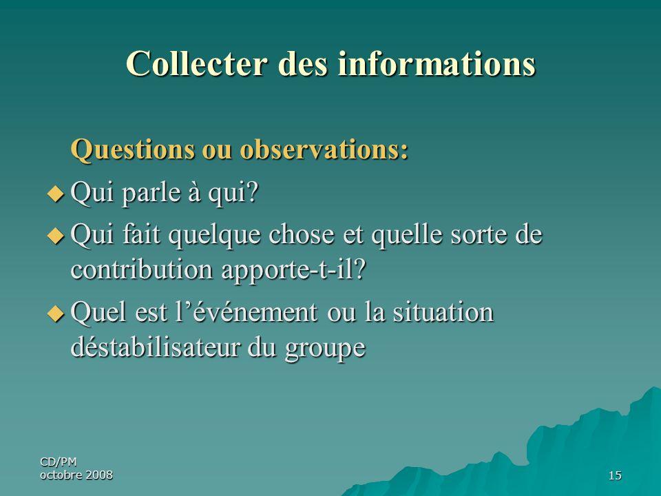 CD/PM octobre 200815 Collecter des informations Questions ou observations: Qui parle à qui? Qui parle à qui? Qui fait quelque chose et quelle sorte de