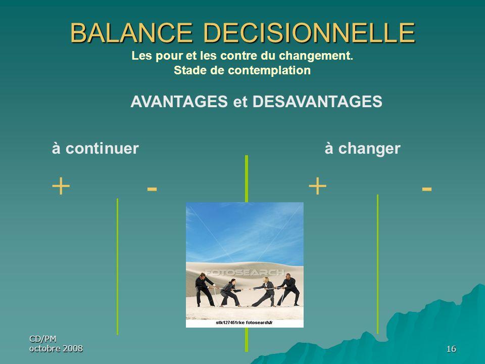 CD/PM octobre 200816 BALANCE DECISIONNELLE Les pour et les contre du changement. Stade de contemplation AVANTAGES et DESAVANTAGES à continuer à change