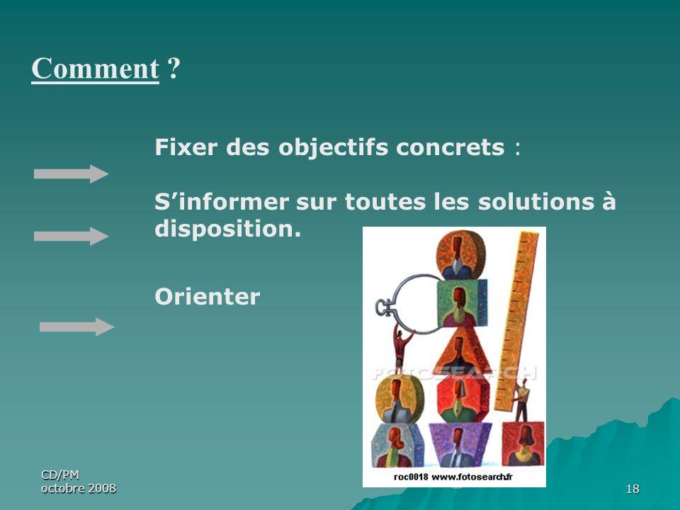 CD/PM octobre 200818 Fixer des objectifs concrets : Sinformer sur toutes les solutions à disposition. Orienter Comment ?