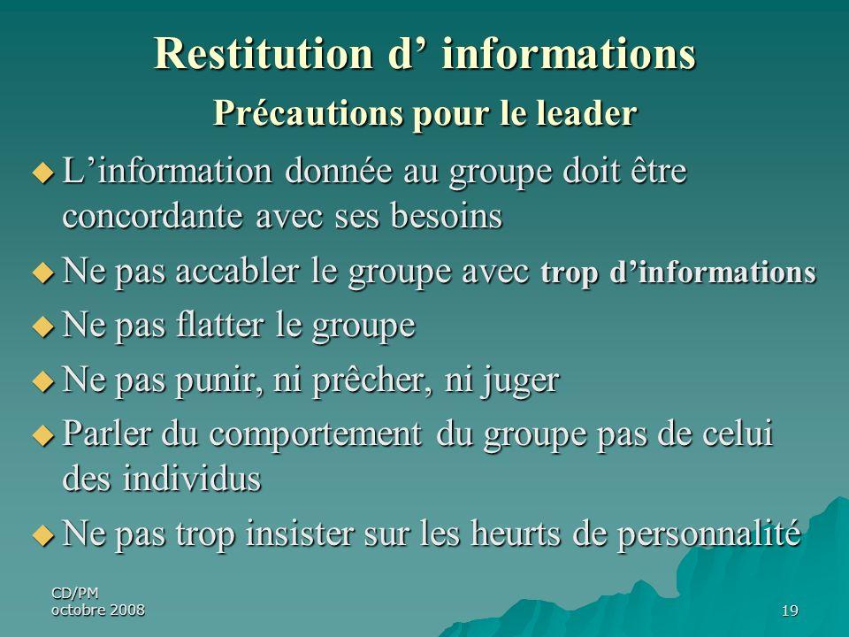 CD/PM octobre 200819 Restitution d informations Précautions pour le leader Linformation donnée au groupe doit être concordante avec ses besoins Linfor