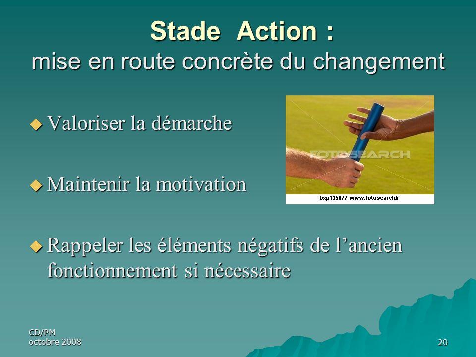 CD/PM octobre 200820 Stade Action : mise en route concrète du changement Stade Action : mise en route concrète du changement Valoriser la démarche Val