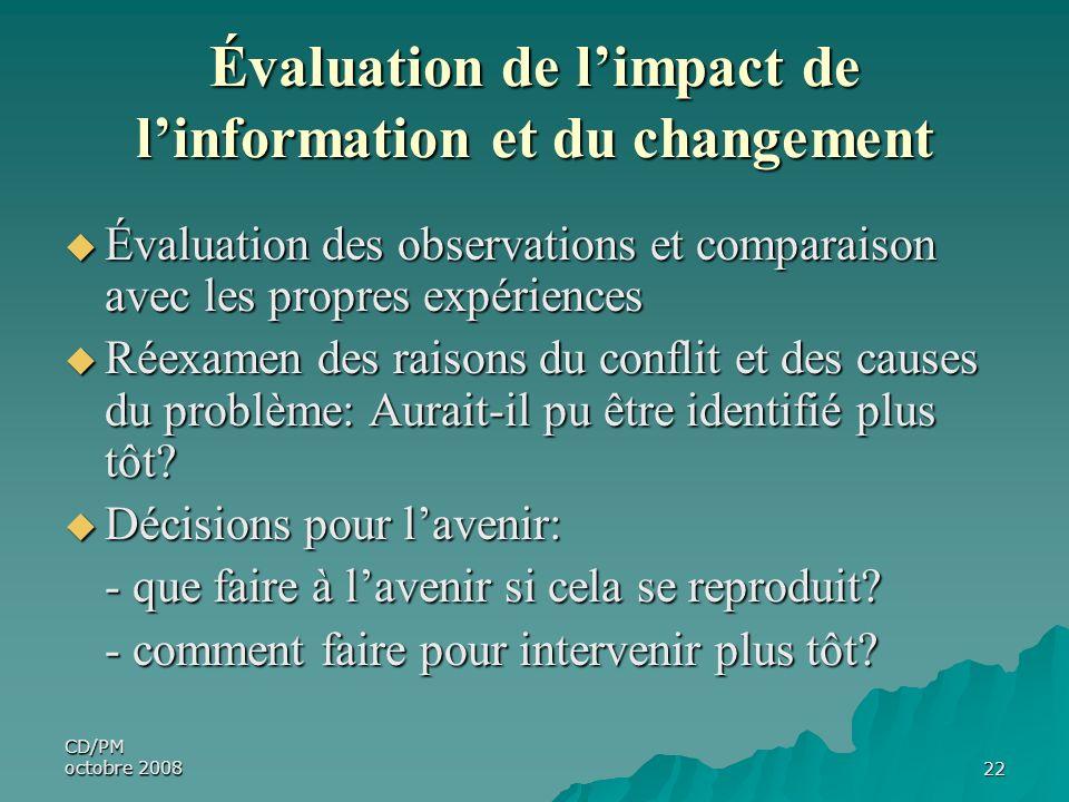 CD/PM octobre 200822 Évaluation de limpact de linformation et du changement Évaluation des observations et comparaison avec les propres expériences Év