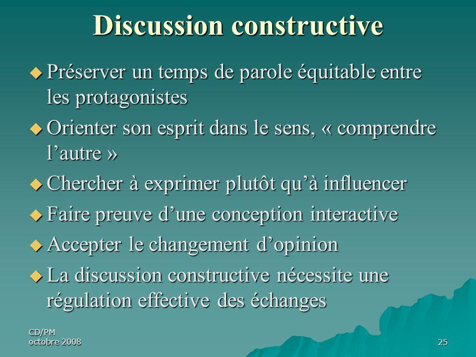 CD/PM octobre 200825 Discussion constructive Préserver un temps de parole équitable entre les protagonistes Préserver un temps de parole équitable ent