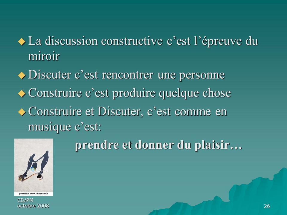 CD/PM octobre 200826 La discussion constructive cest lépreuve du miroir La discussion constructive cest lépreuve du miroir Discuter cest rencontrer un