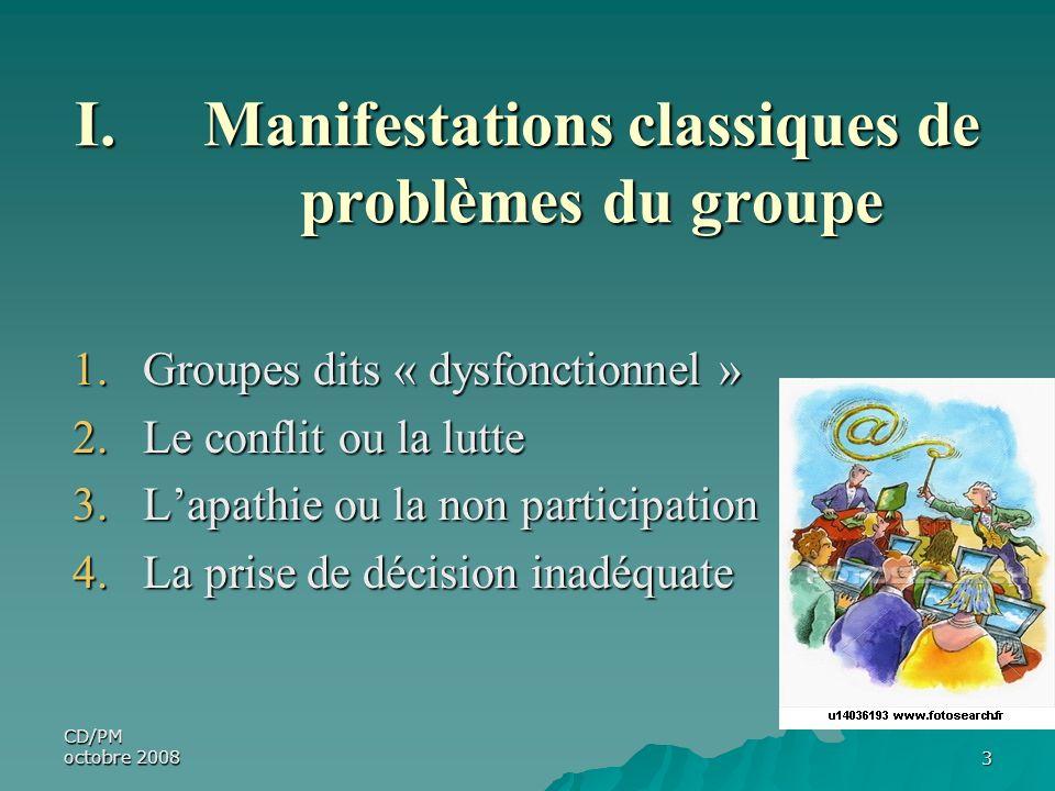 CD/PM octobre 20083 I.Manifestations classiques de problèmes du groupe 1.Groupes dits « dysfonctionnel » 2.Le conflit ou la lutte 3.Lapathie ou la non