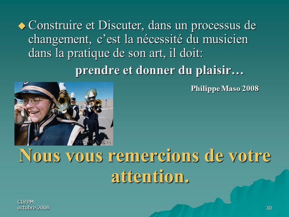 CD/PM octobre 200830 Construire et Discuter, dans un processus de changement, cest la nécessité du musicien dans la pratique de son art, il doit: Cons