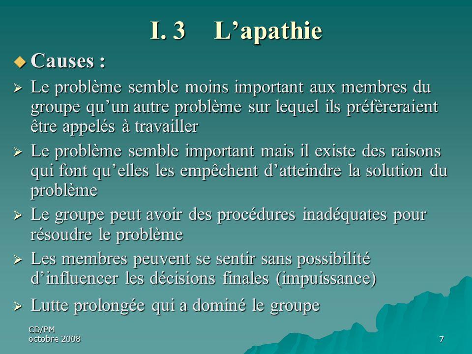 CD/PM octobre 20087 I. 3 Lapathie Causes : Causes : Le problème semble moins important aux membres du groupe quun autre problème sur lequel ils préfèr