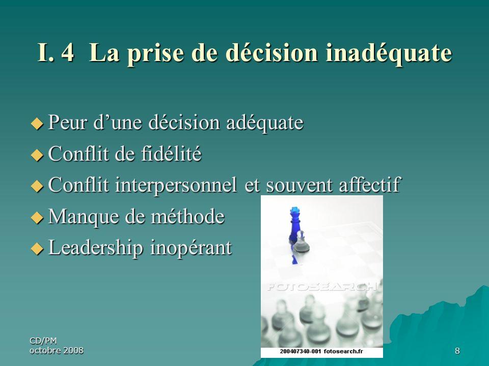 CD/PM octobre 20088 I. 4 La prise de décision inadéquate Peur dune décision adéquate Peur dune décision adéquate Conflit de fidélité Conflit de fidéli