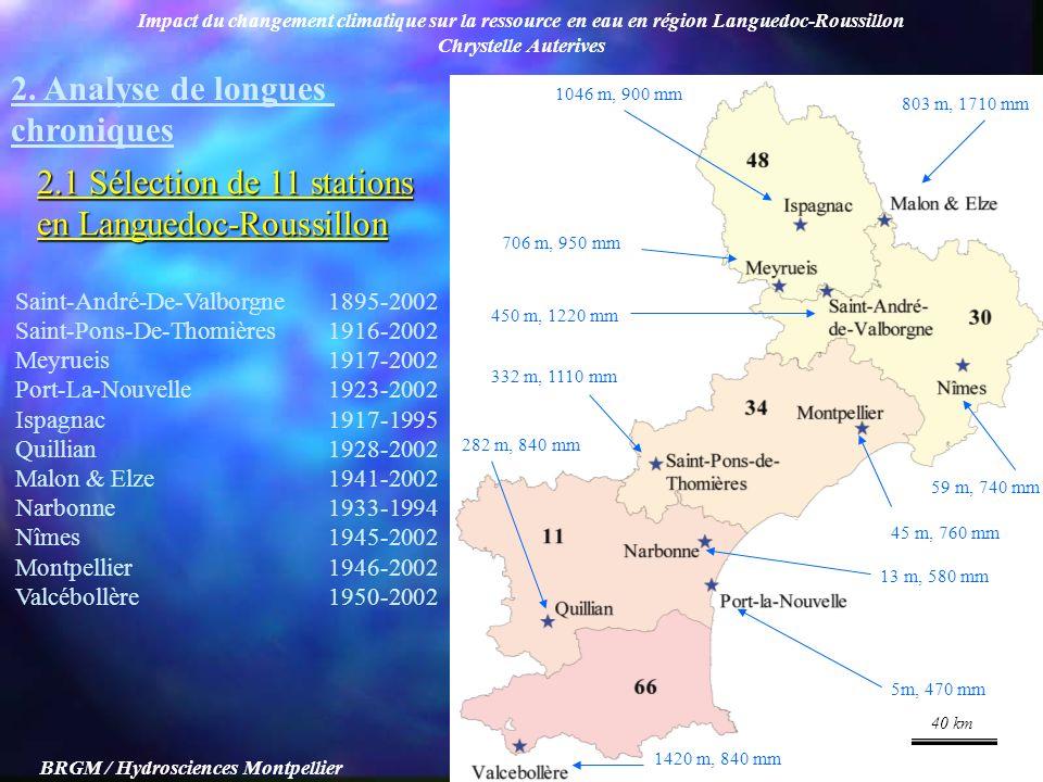 Impact du changement climatique sur la ressource en eau en région Languedoc-Roussillon Chrystelle Auterives BRGM / Hydrosciences Montpellier Saint-And