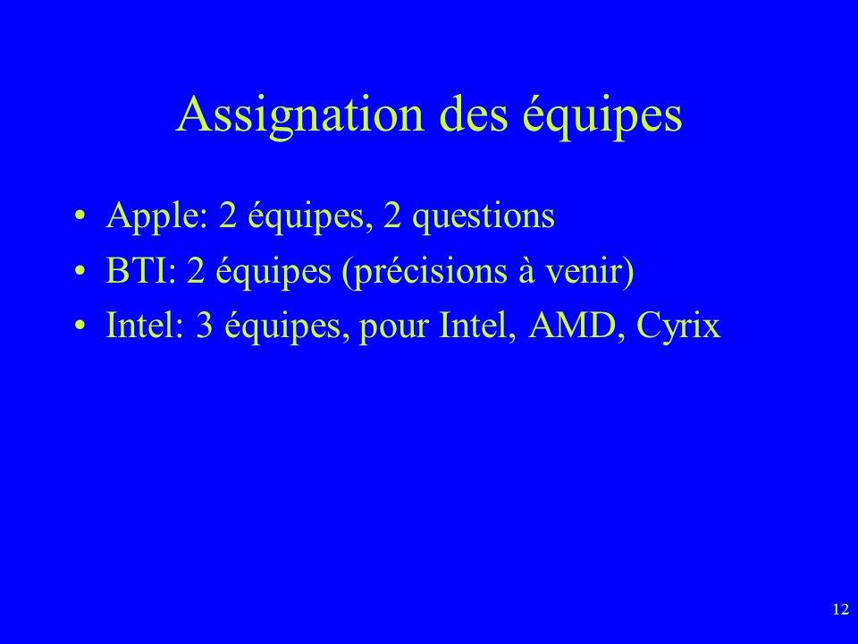 12 Assignation des équipes Apple: 2 équipes, 2 questions BTI: 2 équipes (précisions à venir) Intel: 3 équipes, pour Intel, AMD, Cyrix