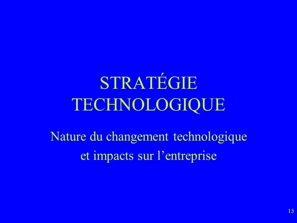 13 STRATÉGIE TECHNOLOGIQUE Nature du changement technologique et impacts sur lentreprise