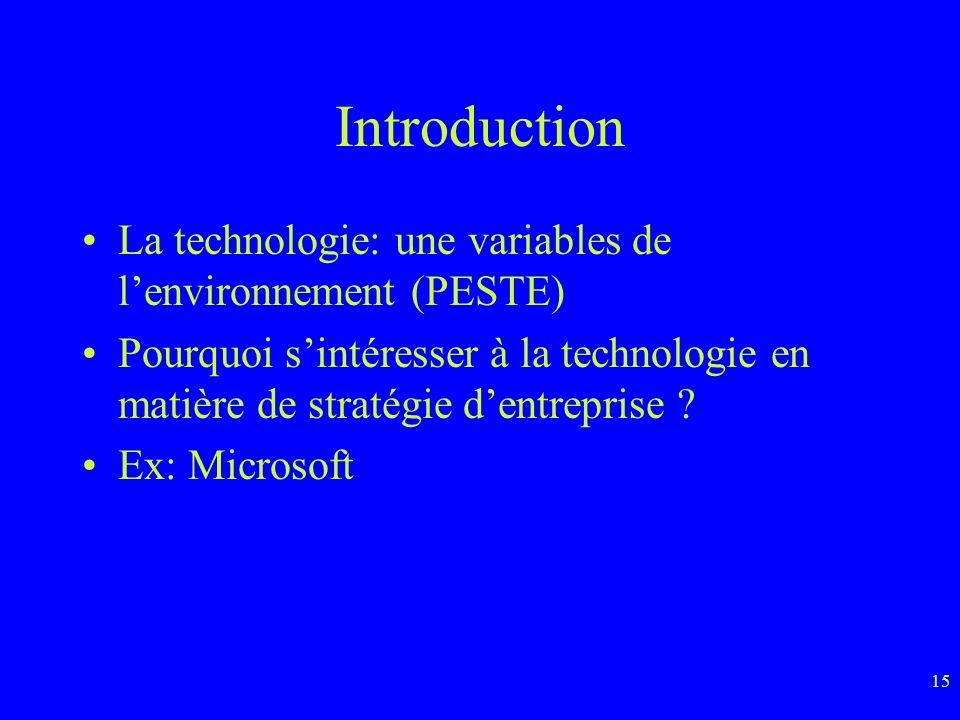 15 Introduction La technologie: une variables de lenvironnement (PESTE) Pourquoi sintéresser à la technologie en matière de stratégie dentreprise .