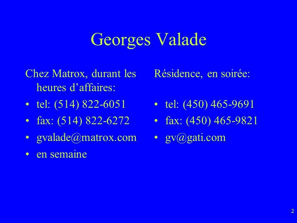 2 Georges Valade Chez Matrox, durant les heures daffaires: tel: (514) 822-6051 fax: (514) 822-6272 gvalade@matrox.com en semaine Résidence, en soirée: tel: (450) 465-9691 fax: (450) 465-9821 gv@gati.com