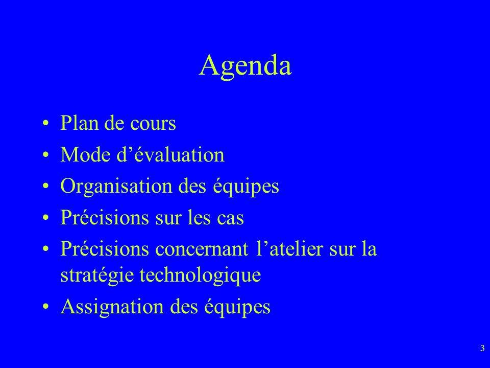 3 Agenda Plan de cours Mode dévaluation Organisation des équipes Précisions sur les cas Précisions concernant latelier sur la stratégie technologique Assignation des équipes